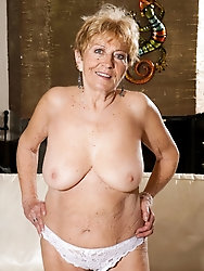 Old momma takes off sexy bra