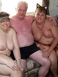 Topless grandmom is giving pussy